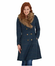 Button Knee Length Polyester Check Coats & Jackets for Women