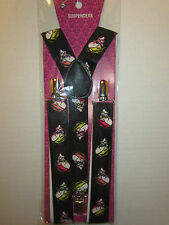 SUSPENDERS BLACK WITH SKULLS  WITH HAIR PUNK ROCK EMO GOTHIC