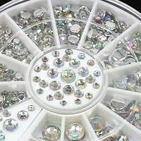 4 Size 300pcs 3D Crystal Rhinestone Glitter Nail Art Tips Decoration Wheel EA