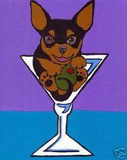 Black Tan CHIHUAHUA MARTINI Dog Art PRINT Painting VERN