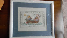 Framed Cross Stitch Sing Along Pair Row-Row-Row-Your-Boat Baby 15x13 Jca New