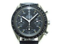 Auth OMEGA Speedmaster 3510.50 Black Leather SS 54707970 Mens Wrist Watch