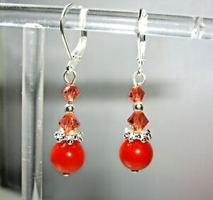 RED CORAL & PAPARASCHDA CRYSTAL EARRINGS W' 925 STERLING SILVER LEVERBACKS