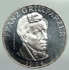 1964 AUSTRIA with Writer Franz Grillparzer PROOF Silver 25 Schilling Coin i92228