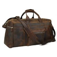 Real Leather Large Travel Hand Luggage Duffel Gym Bag Holdall Weekend Carry-On
