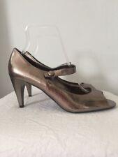 "M&S Silver Heels Shoes Mock Croc Peep Toe Mary Janes ~Size 6~ 3"" Heel  -NWOB"