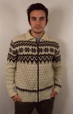 Vintage HOMME chunky laine norvégien Pull Cardigan Tricot Flocon de Neige Pull M