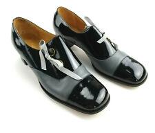 Vintage Corelli Italian Black/Grey Patent Leather Heels Pumps Shoes Size 8 B bt