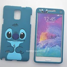 Cute cartoon Blue Stitch Fullbody front back cover case for Samsung galaxy note4