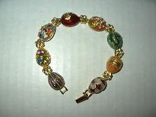 Vintage JOAN RIVERS Goldtone & 8 Link Russian Egg Bracelet With Hidden Egg Yolk