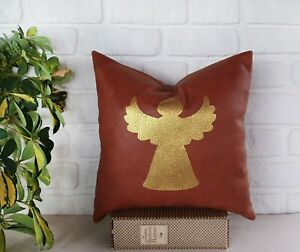 Gold Angel terracotta color faux leather fabric pillow cover-1 QTY