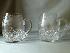2 Crystal Tankards Mugs Wheel Etched with Grapevine, Tutbury Crystal, British