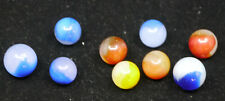 9 VINTAGE AKRO AGATE MOSS AGATE, PATCH MACHINE MADE MARBLES