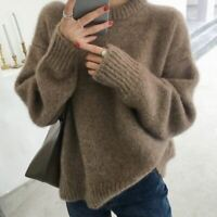 Womens Winter Mohair Cashmere Thicken Wool Lazy Sweater Tops Pullover Jumper New