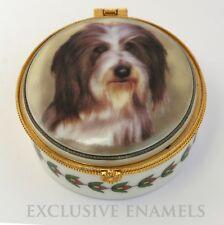 More details for alastor enamels bearded collie dog round hinged china trinket box