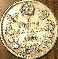 1909 CANADA SILVER 5 CENT COIN - Pointed leaves variety - Excellent example!