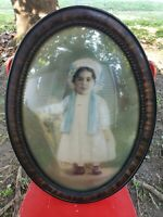 Convex Bubble Glass Hand Tinted Portrait Photograph Of Biracial Creole? Girl