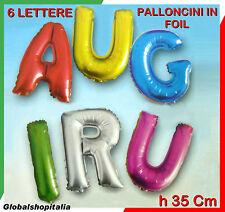 Kit 6 Palloncini Foil Lettere 35 cm Scritta AUGURI Festa Compleanno Laurea Party
