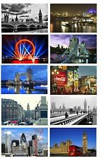 LONDON SCENES SET OF 10 FLEXIBLE THIN FRIDGE MAGNETS UNITED KINGDOM UK BRITAIN