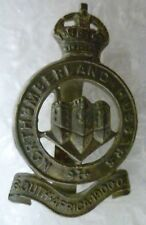VINTAGE Northumberland Hussars Cap Badge KC WM Slider ANTIQUE Genuine