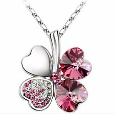 New Stainless Silver Plated Four Leaf Clover Cz Crystal Pendant Necklace Pink