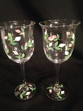 """Set Of 2 Hand Painted Wine Glasses Spring Pink Flowers 8"""" Tall"""