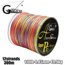 12Strands Braided Fishing line 300m Multicolor Multifilament PE braid line 110lb