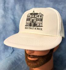 Vintage Troutdale School Trucker Hat White Snapback Baseball Cap Oregon