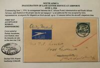 1936 Johannesburg South Africa First Late Letter Service Cover To Durban