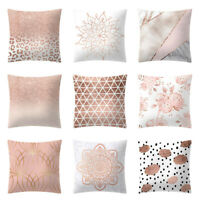Washable Rose Gold Pink Cushion Cover Square Pillowcase Home Decoratio Sofa Bed