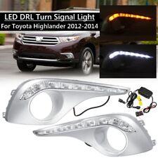 For 2012-2014 Toyota Highlander Pair LED DRL Daytime Running Light Fog Cover New