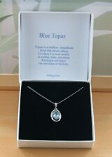 "Blue Topaz Pendant & 18"" Silver Chain/Sterling Silver Topaz Necklace UK/Gift UK"
