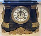 Antique Ansonia Mantel Clock Pompeii 1890 Working Marble Gilded Gold