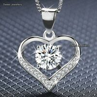925 Silver Crystal Diamond Heart Pendant Necklace Xmas Gifts For Her Women Wife