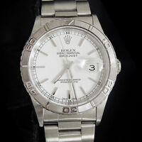Rolex Datejust Mens Stainless Steel Thunderbird Turn-O-Graph Oyster White 16264