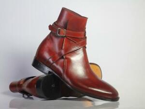 Handmade Men's Ankle High Burgundy Leather Boots, Men Designer Jodhpurs Boots