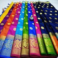 Saree Blouse Indian Ethnic Cultural Wedding Designer Tussar Silk Party wear Sari