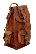 Vintage Leather Backpack Rucksack School Travel Work College Retro Hiking Bag