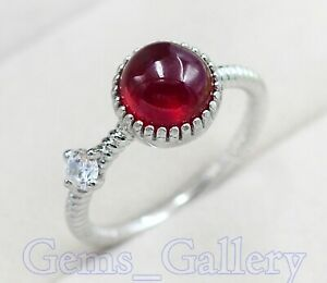 Natural 8MM Ruby Cabochon Gemstone 925 Sterling Silver Engagement Ring For Women