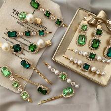 Fashion Women Crystal Rhinestone Pearl Barrette Clip Hairpin Hair Accessories
