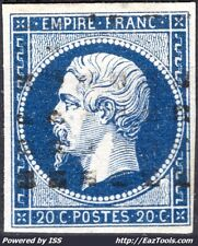 FRANCE EMPIRE 20c BLEU N° 14A CACHET ROULETTE DE POINTS CARRÉS NOIRS