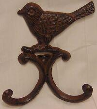 New listing Cast Iron Bird Double Wall Coat Hook Hanger Decor Rustic Garden Patio #137