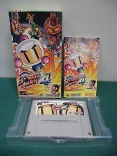SNES -- SUPER BOMBERMAN 4 -- Boxed. Super famicom. Japan game. work fully. 16032