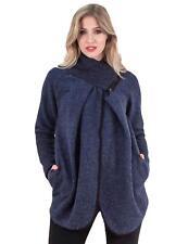 Womens Italian Lagenlook Wool Winter Knitted Jackets Collared Zip Poncho Coat