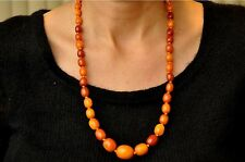 "Antique +150 Years Old Chinese Butterscotch Amber Necklace 33.5 grams 24"" Long"