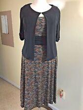PERCEPTIONS Fit & Flare Plus Sz.18 2 pc. Stretch Knit Dress Brown Black Teal