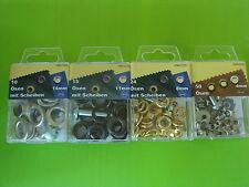 Ösen mit Scheiben, Ø 14mm, 11mm, 8mm und 4mm + Werkzeug und Anleitung