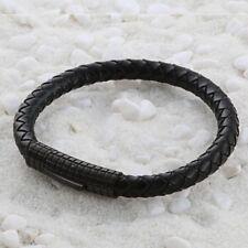 "8"" Mens Womens Stainless Steel 6mm Braided Black Leather Bangle Bracelet + Box"