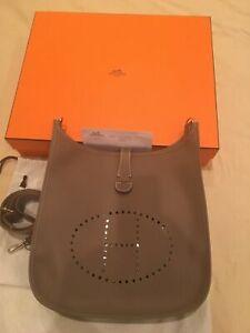 HERMES - Evelyne III GM / Etoupe / Crossbody Messenger Tote Bag