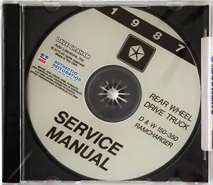 1987 Dodge Pickup Truck Ramcharger Factory Service Manual Shop Repair CD D & W